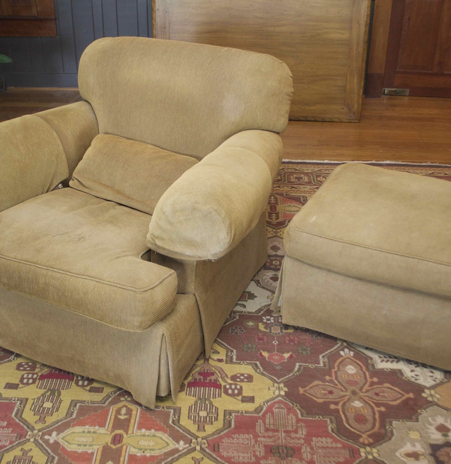 Overstuffed furniture - Overstuffed Chair And Ottoman By Baker Furniture Overstuffed Chair And Ottoman By