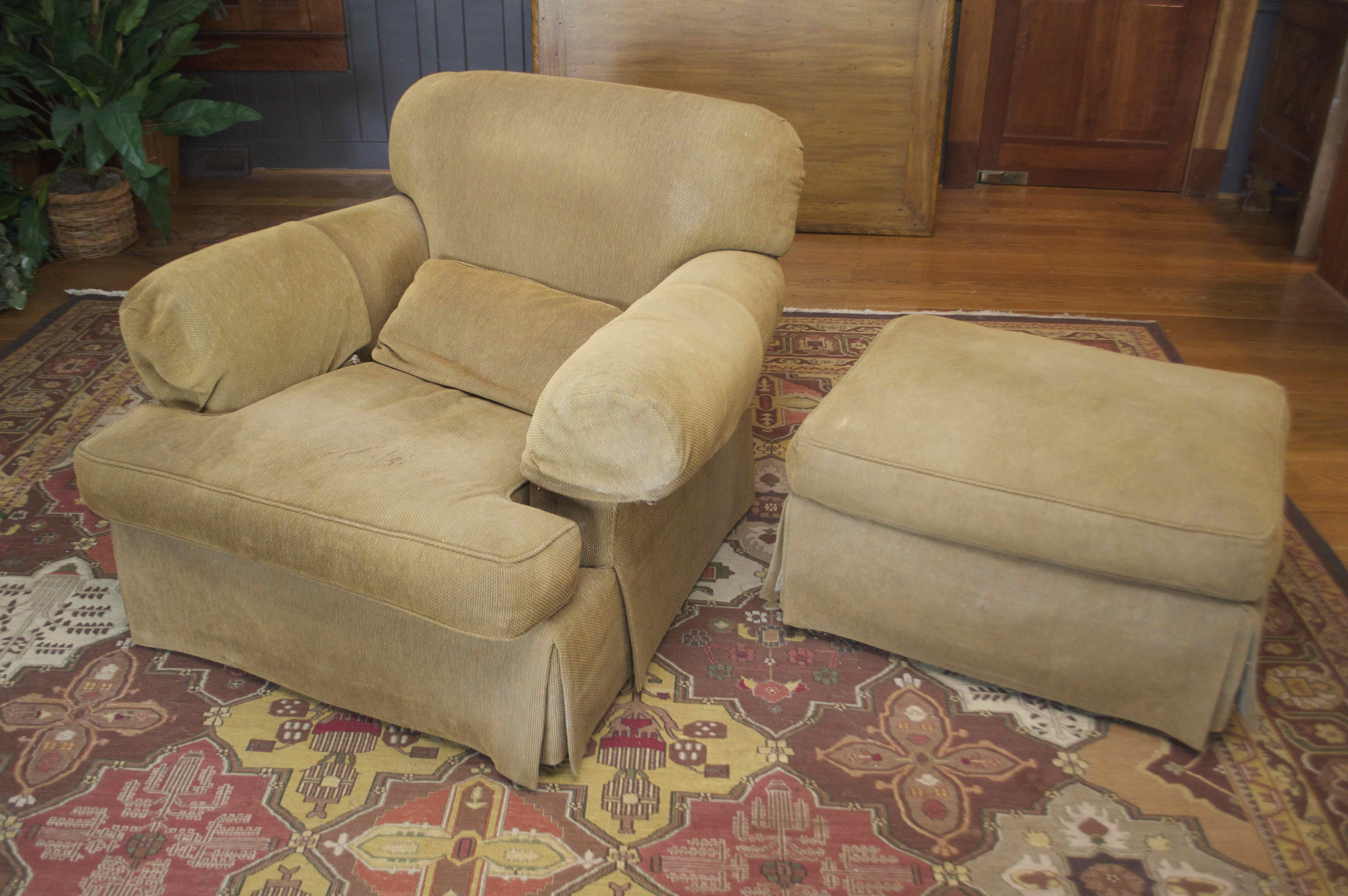 Overstuffed Chair And Ottoman By Baker Furniture ...