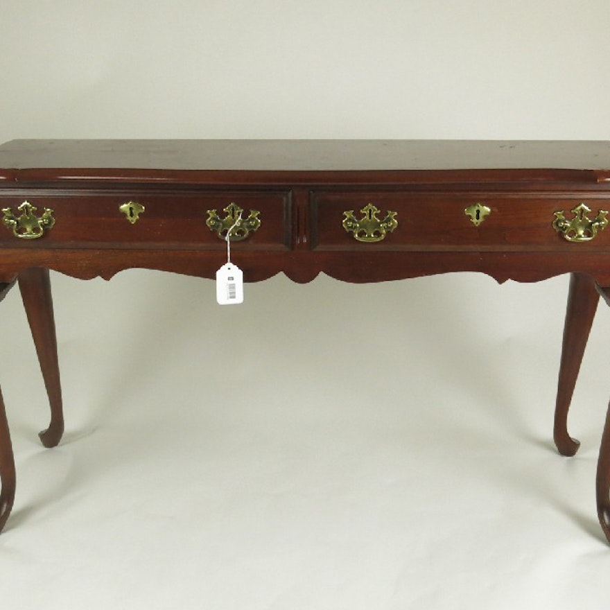 Queen Anne Style Cherry Console Table With Two Drawers