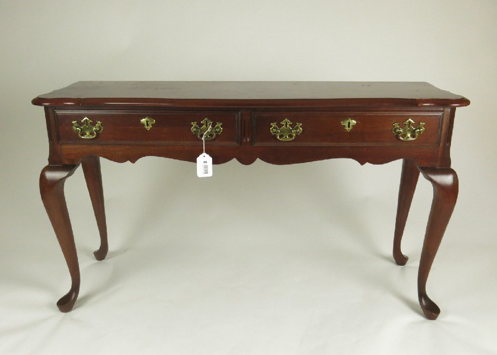 Charming Queen Anne Style Cherry Console Table With Two Drawers ...