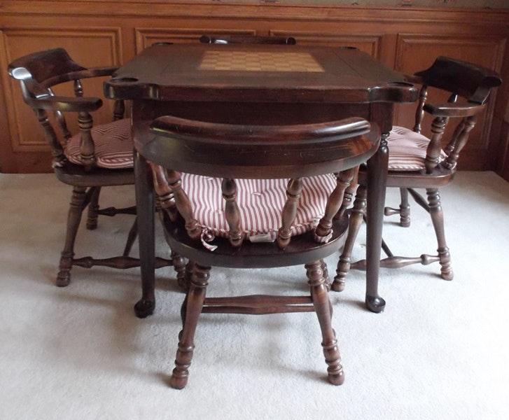 Mid 20th century ethan allen game table and chairs ebth for 11 in 1 game table