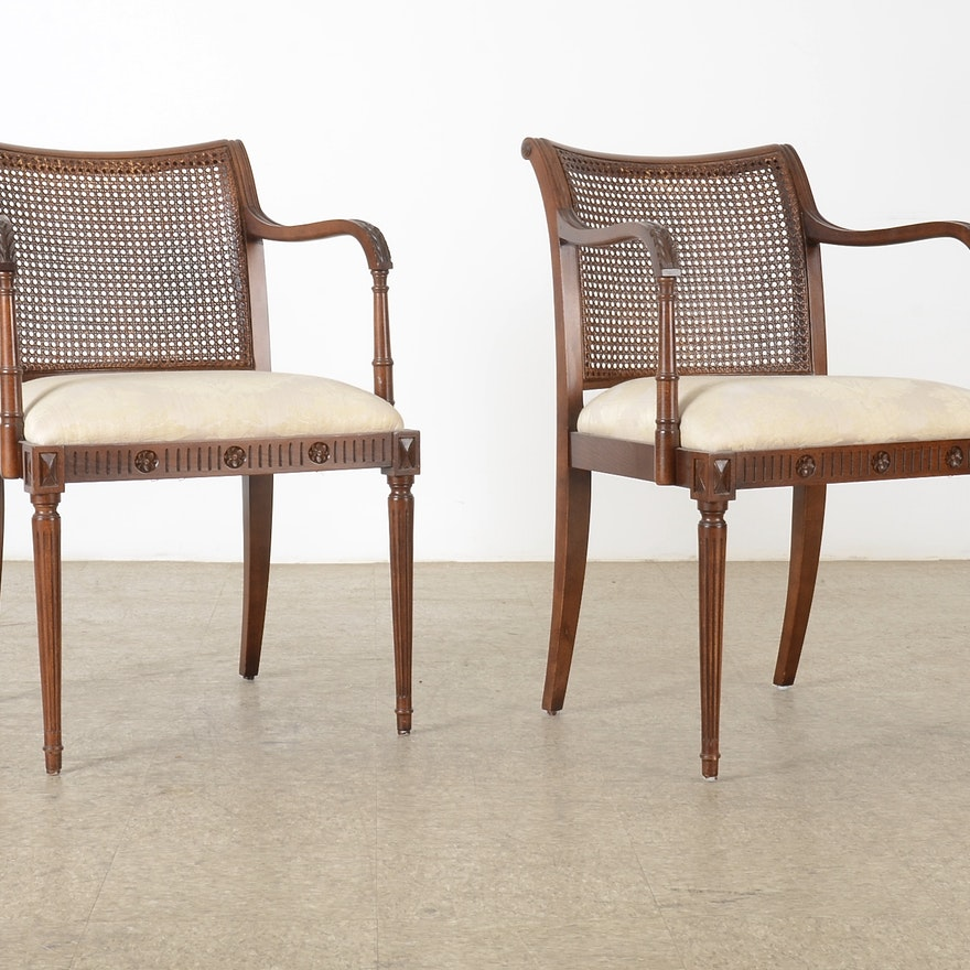 Mahogany Cane Back Arm Chair | EBTH