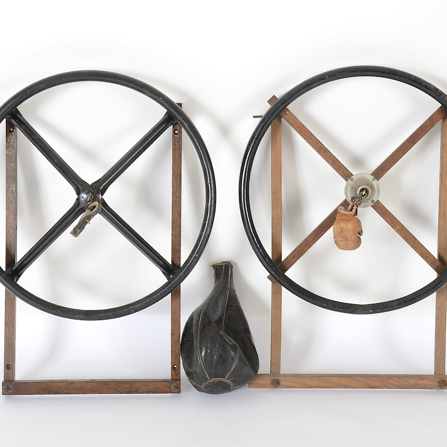 Two 1920s Boxing Speed Bag Racks and One Leather Bag
