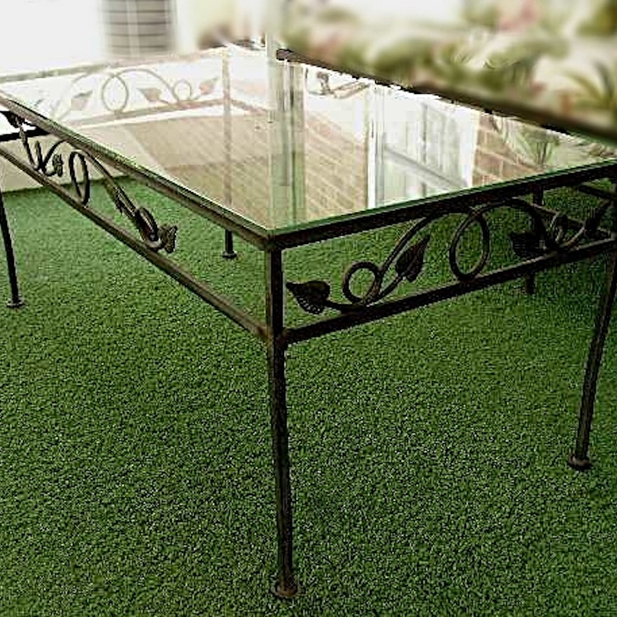 Wrought Iron Patio Coffee Table With Ivy Design And Glass Top Ebth - Picture-table-by-ivydesign