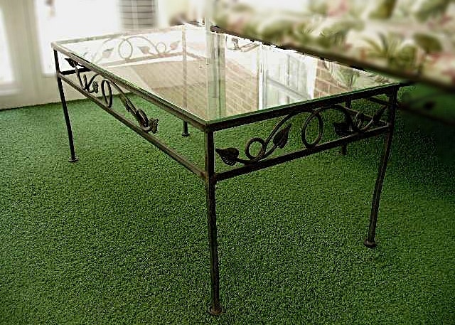 Wrought Iron Patio Coffee Table With Ivy Design And Glass Top