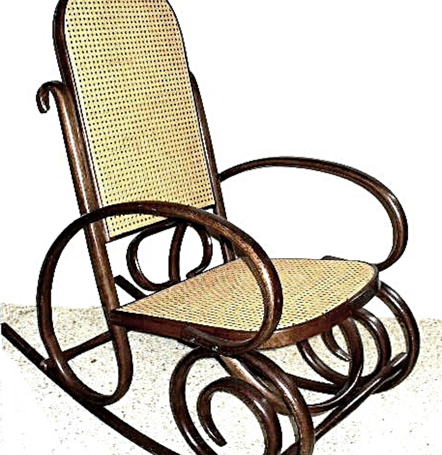 bentwood rocker with woven wicker seat and back ebth