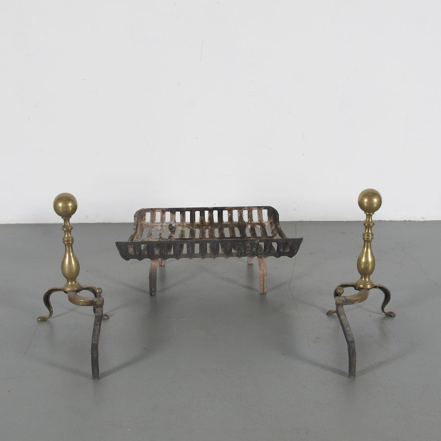Admirable Vintage Brass Andirons With Cast Iron Fireplace Insert Download Free Architecture Designs Pushbritishbridgeorg
