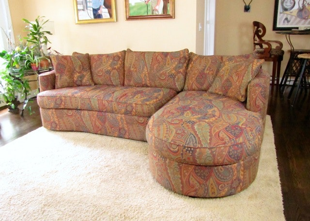 Nice Two Piece Sectional Paisley Sofa By Bernhardt ...