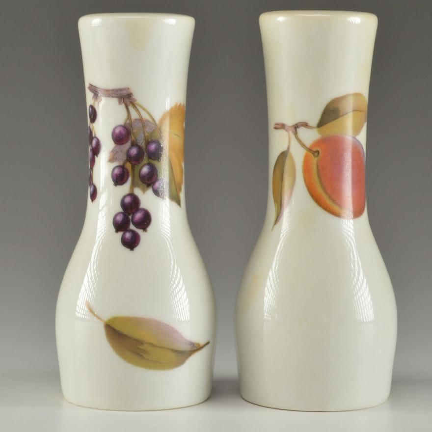 Royal Worcester Porcelain Fruit Pattern Salt and Pepper Shakers : EBTH