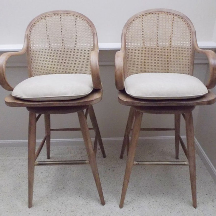Two Mid 20th Century Drexel Heritage Cane Back Barstools