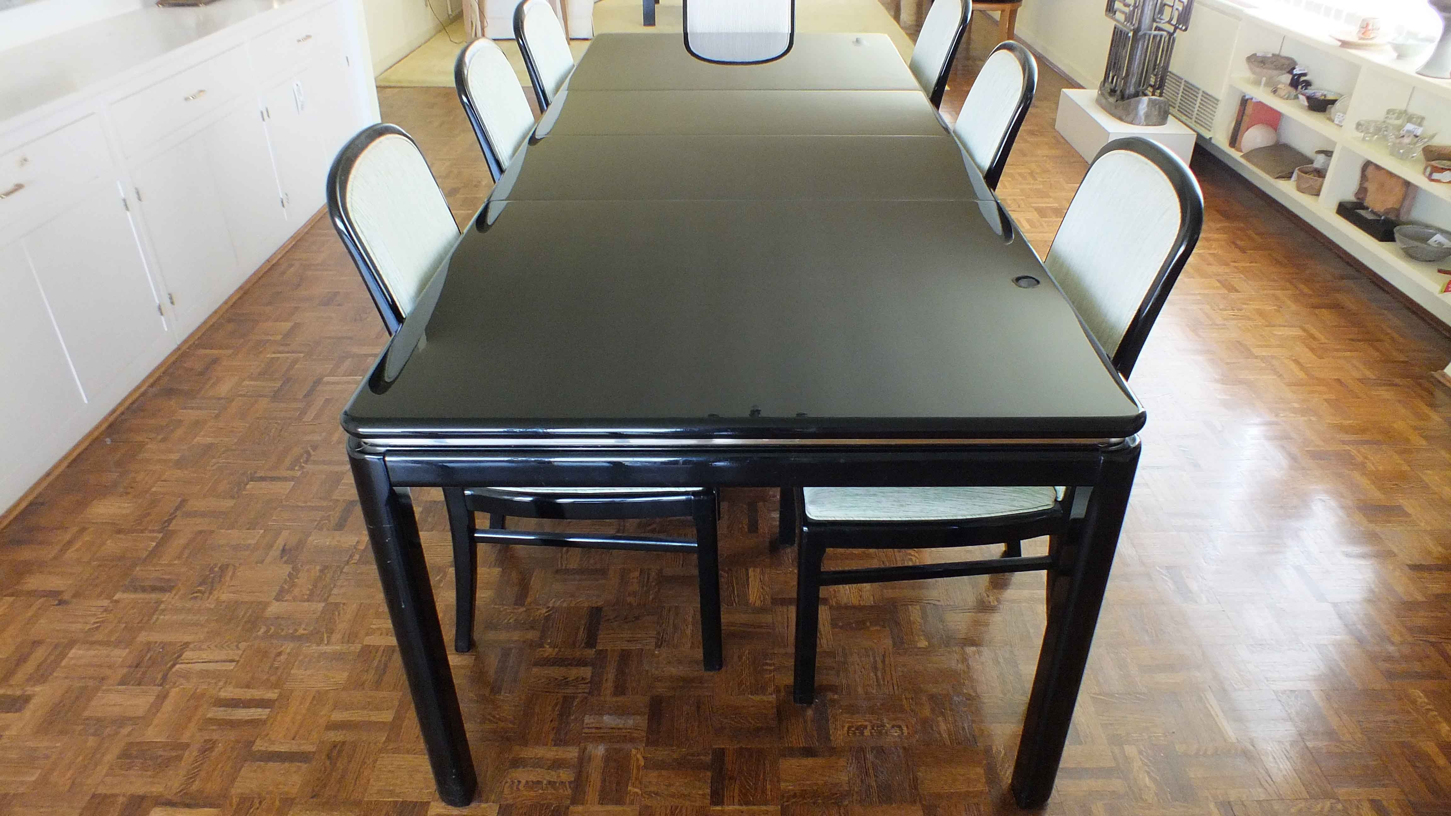 vintage lane lido black lacquer dining room table and chairs