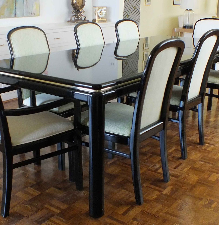 "Black Dining Room Table And Chairs: Vintage Lane ""Lido"" Black Lacquer Dining Room Table And"