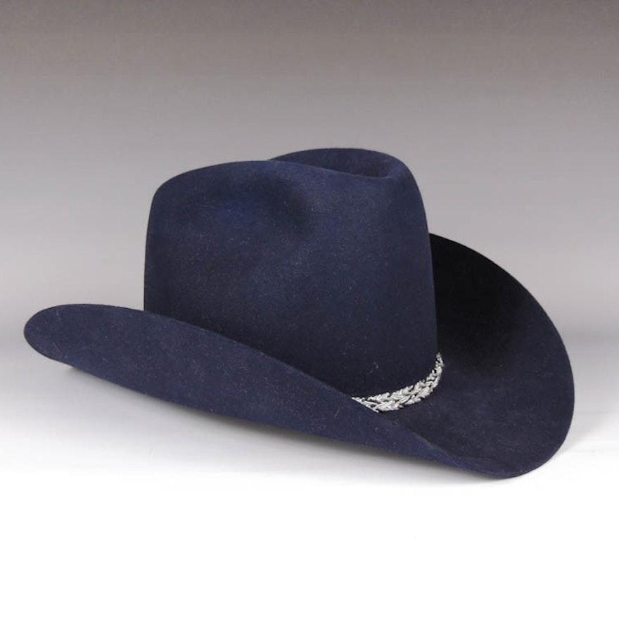 Stetson Dark Blue Beaver Felt Western Hat   EBTH 5ca370dd3803