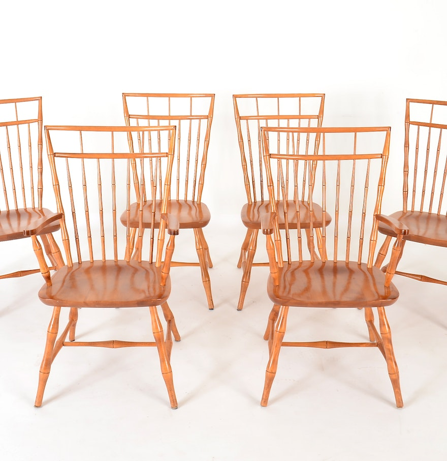 Bamboo Turned Chair: Six Nichols & Stone Bamboo Turned Dining Chairs : EBTH