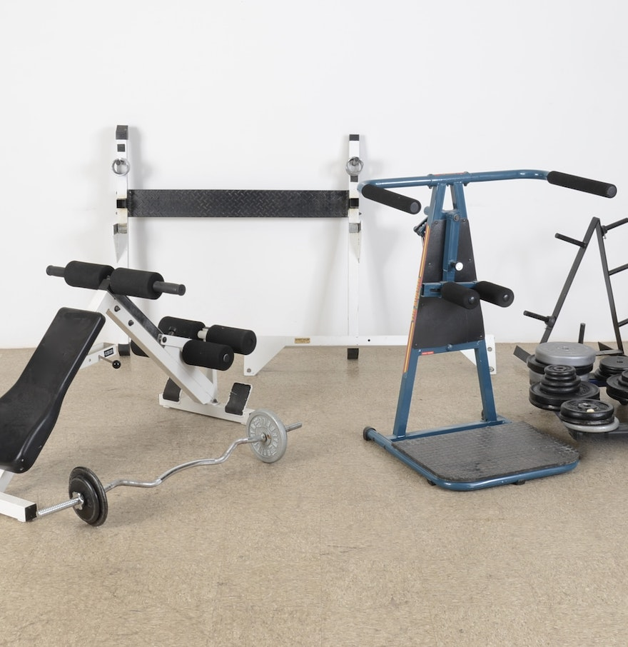 Assortment of home gym fitness equipment ebth