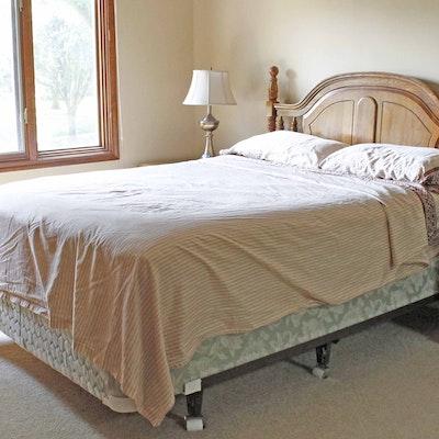 queen bed with oak headboard - Used Queen Bed Frame