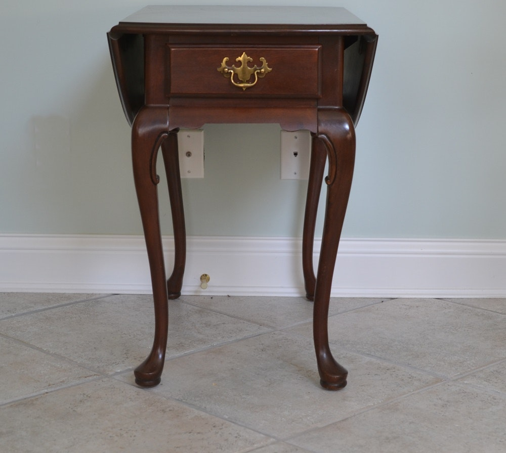 Hammary Furniture Queen Anne Style Drop Leaf Side Table Ebth