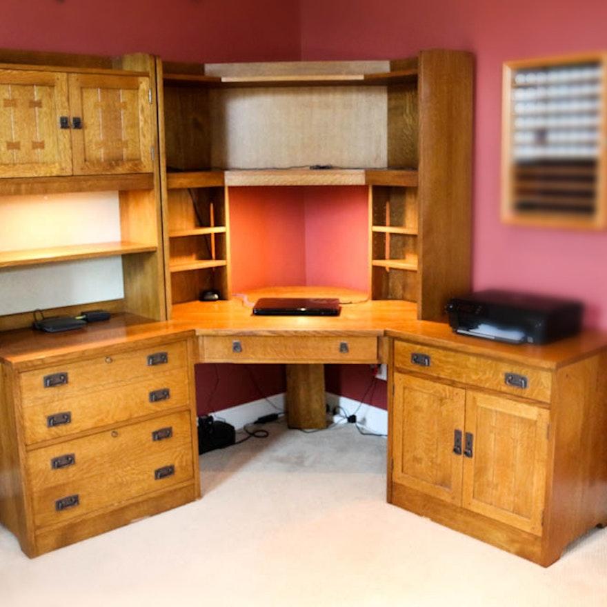 stickley mission collection corner desk with filing cabinet ebth. Black Bedroom Furniture Sets. Home Design Ideas