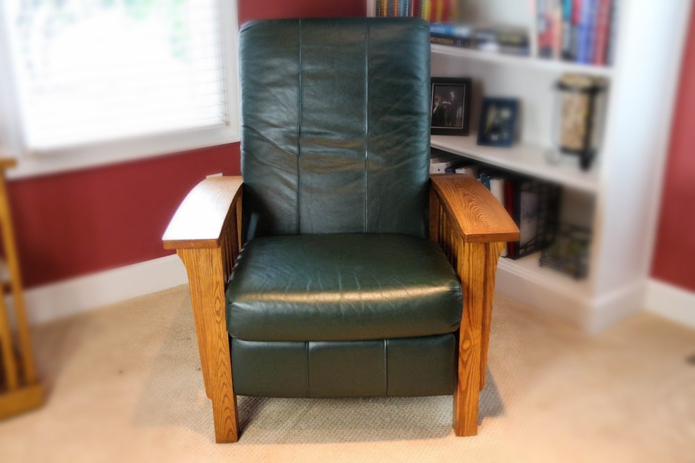 mission style recliner with green leather - Mission Style Recliner