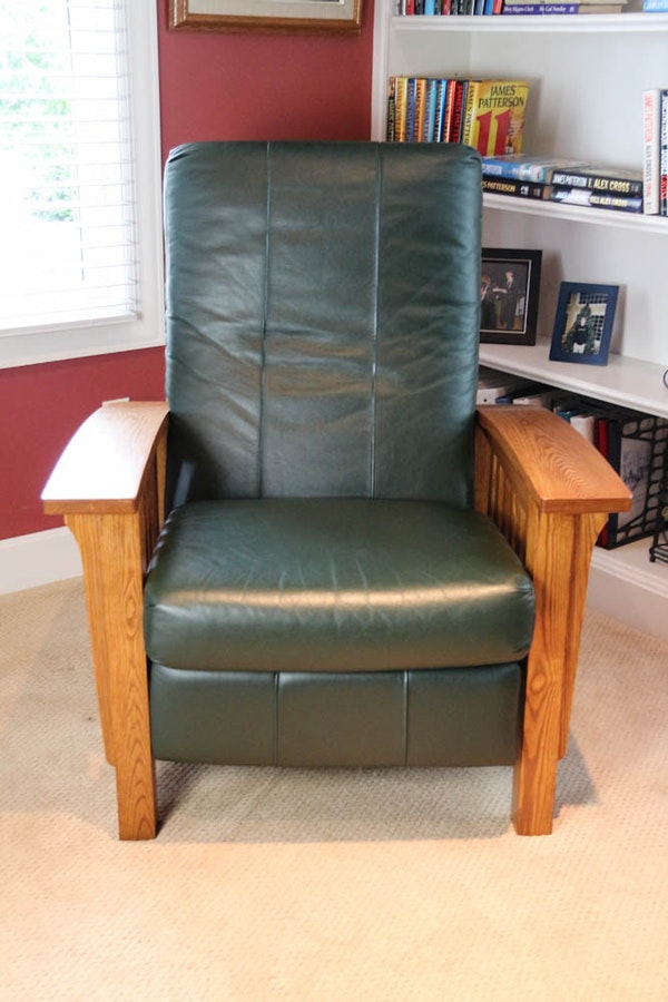 Mission Style Barcalounger Recliner With Green Leather Ebth