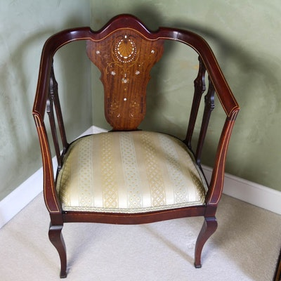 Early 20th Century Mahogany Armchair with Mother of Pearl Inlay - Online Furniture Auctions Vintage Furniture Auction Antique