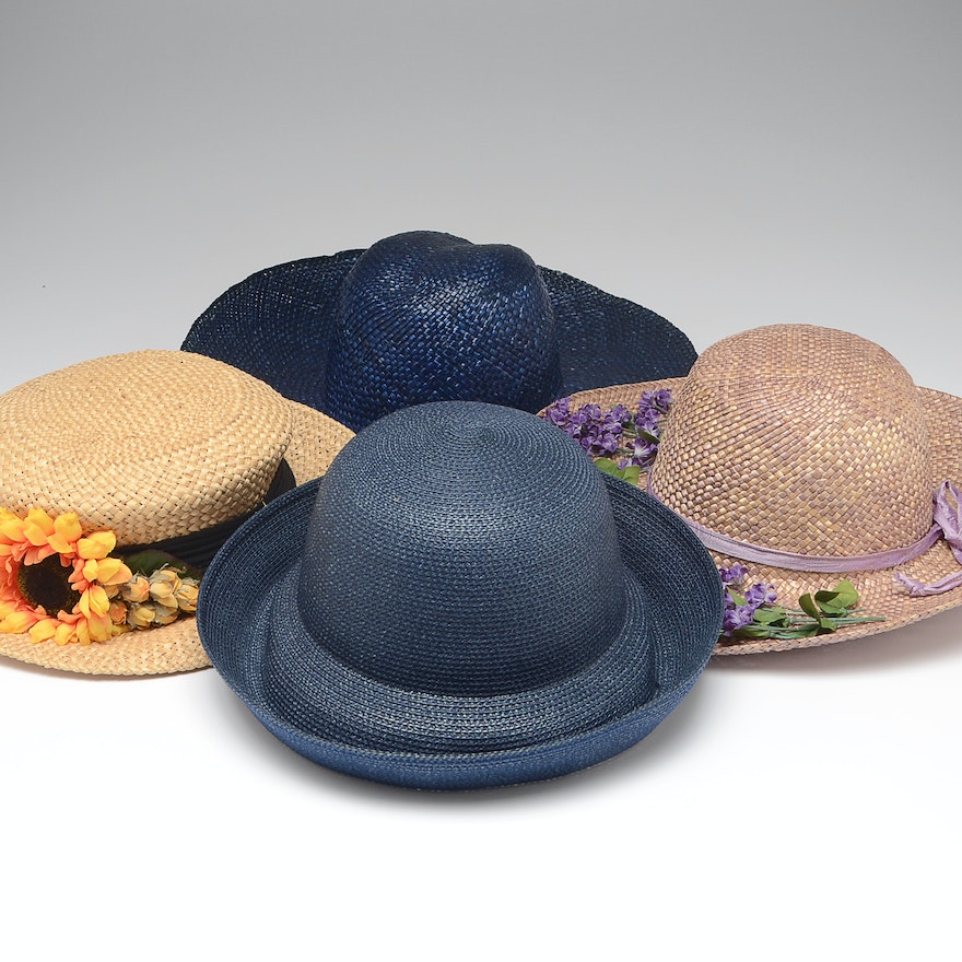 9fdb51215f3 Collection of Four Handwoven Straw and Cellophane Hats   EBTH