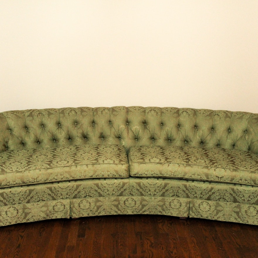Mid Century Hickory Fry Curved Green Tufted Couch