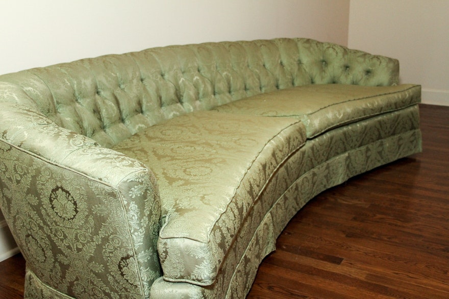 Mid Century Hickory Fry Curved Green Tufted Couch Ebth