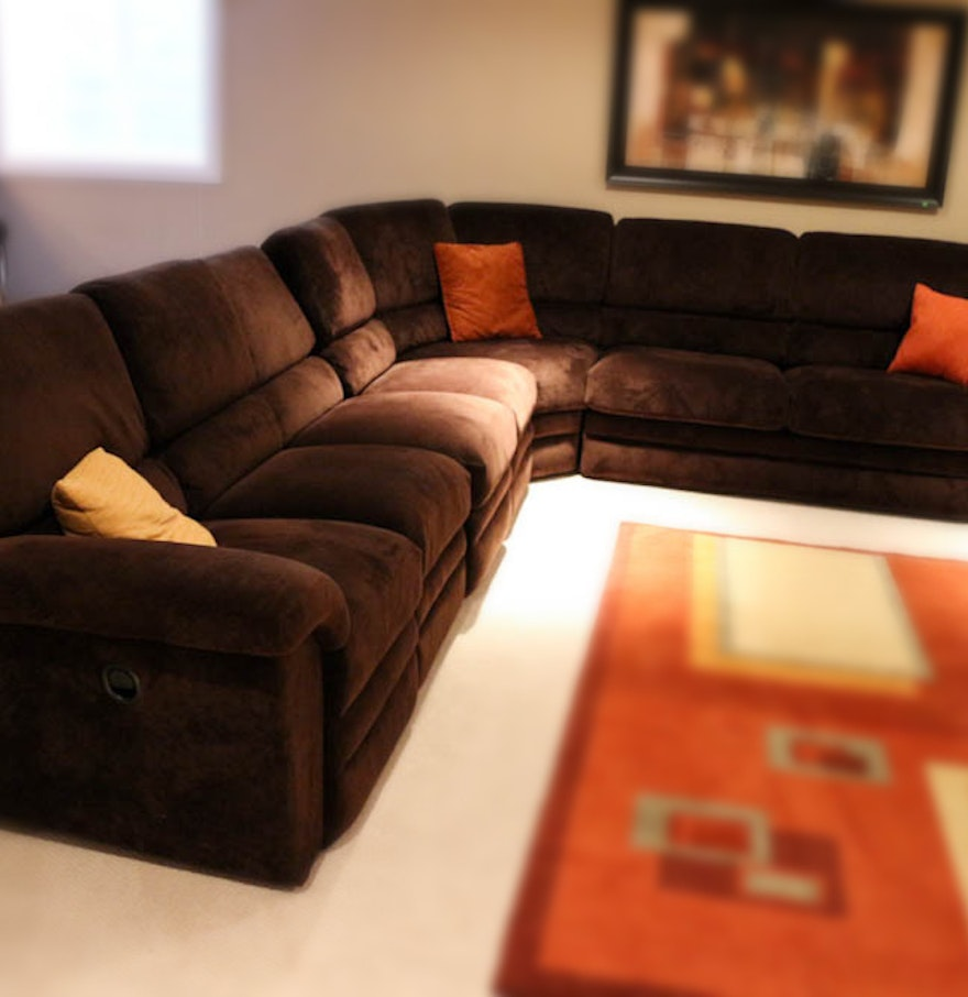 Reclining chocolate brown sectional with sofa bed by la z for La z boy sectional sofa bed