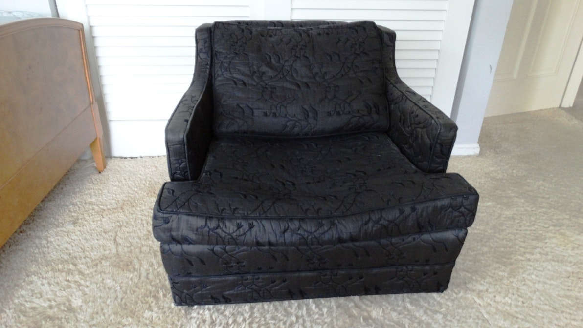 Black Upholstered Club Chair On Wheels