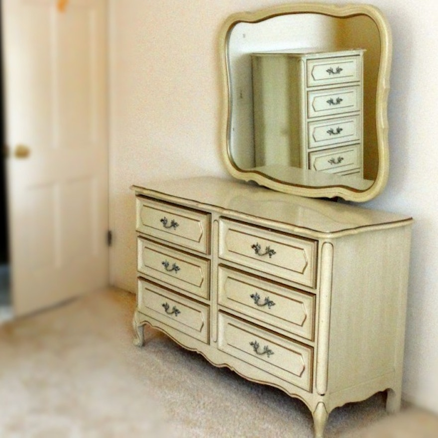 French Provincial Style Vintage Henry Link Dresser With Mirror