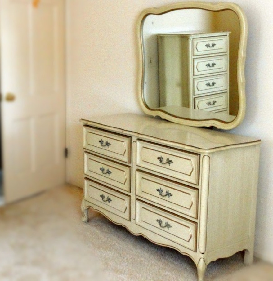 French Provincial Style Vintage Henry Link Dresser With Mirror Ebth