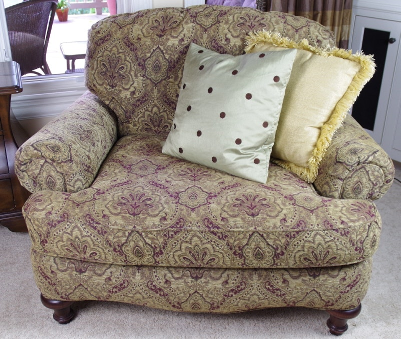 Overstuffed Armchair With Tapestry Upholstery Ebth