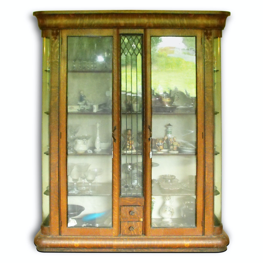 Antique Oak China Cabinet With Leaded Glass Panels