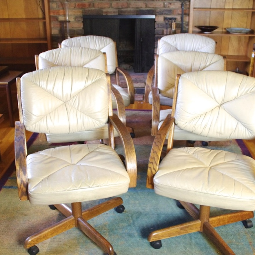 set of six vintage rolling kitchen chairs with leather upholstery - Rolling Kitchen Chairs
