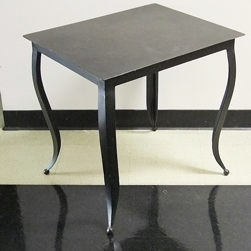 Contemporary handmade wrought iron side table ebth for Wrought iron side table
