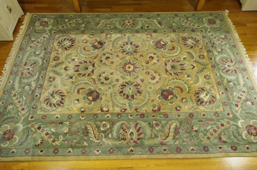 Large Hand Tufted Area Rug In Sage Tan And Plum Hues Ebth