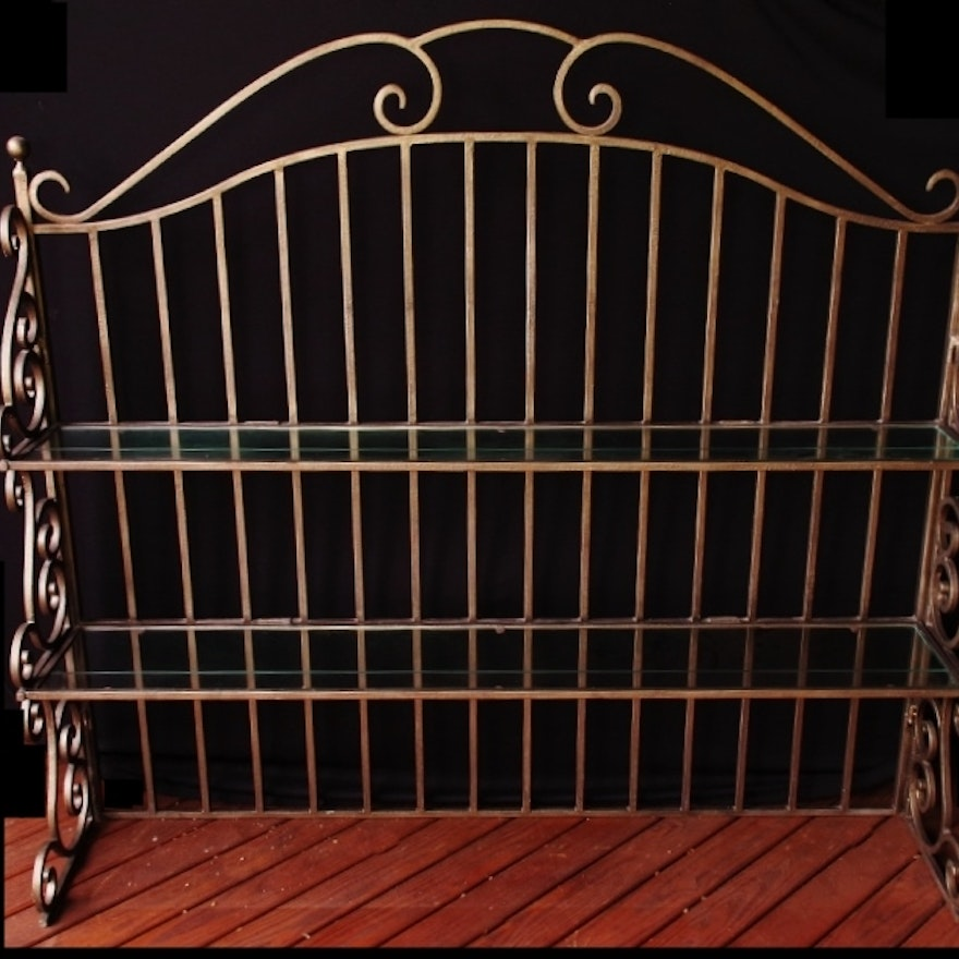 Wrought Iron Bakers Rack Hutch Top With Bronze Painted Finish