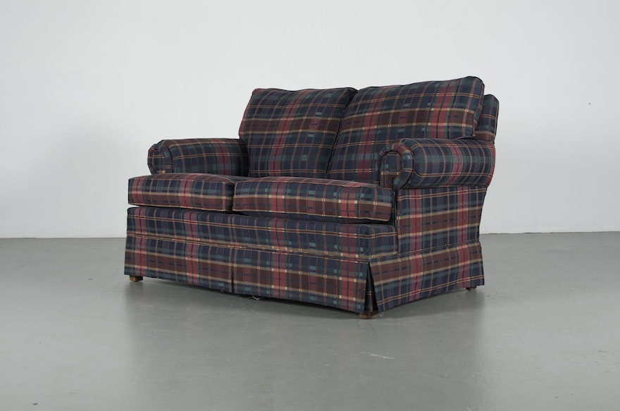 Plaid Broyhill Love Seat Couch Ebth