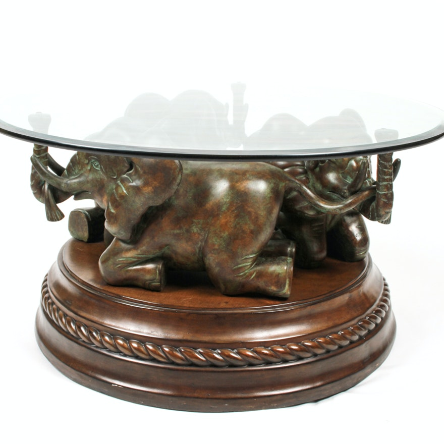 Glass Top Coffee Tables: Elephant Base Coffee Table With Glass Top : EBTH