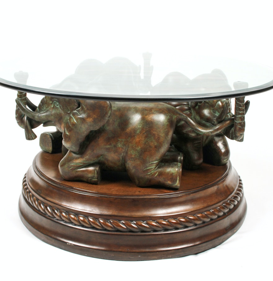 Elephant Base Coffee Table With Glass Top : EBTH
