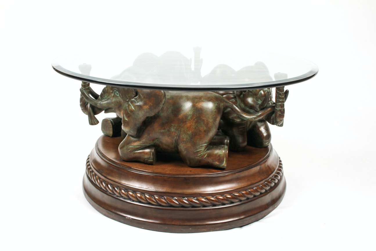 Elephant Base Coffee Table With Glass Top ...