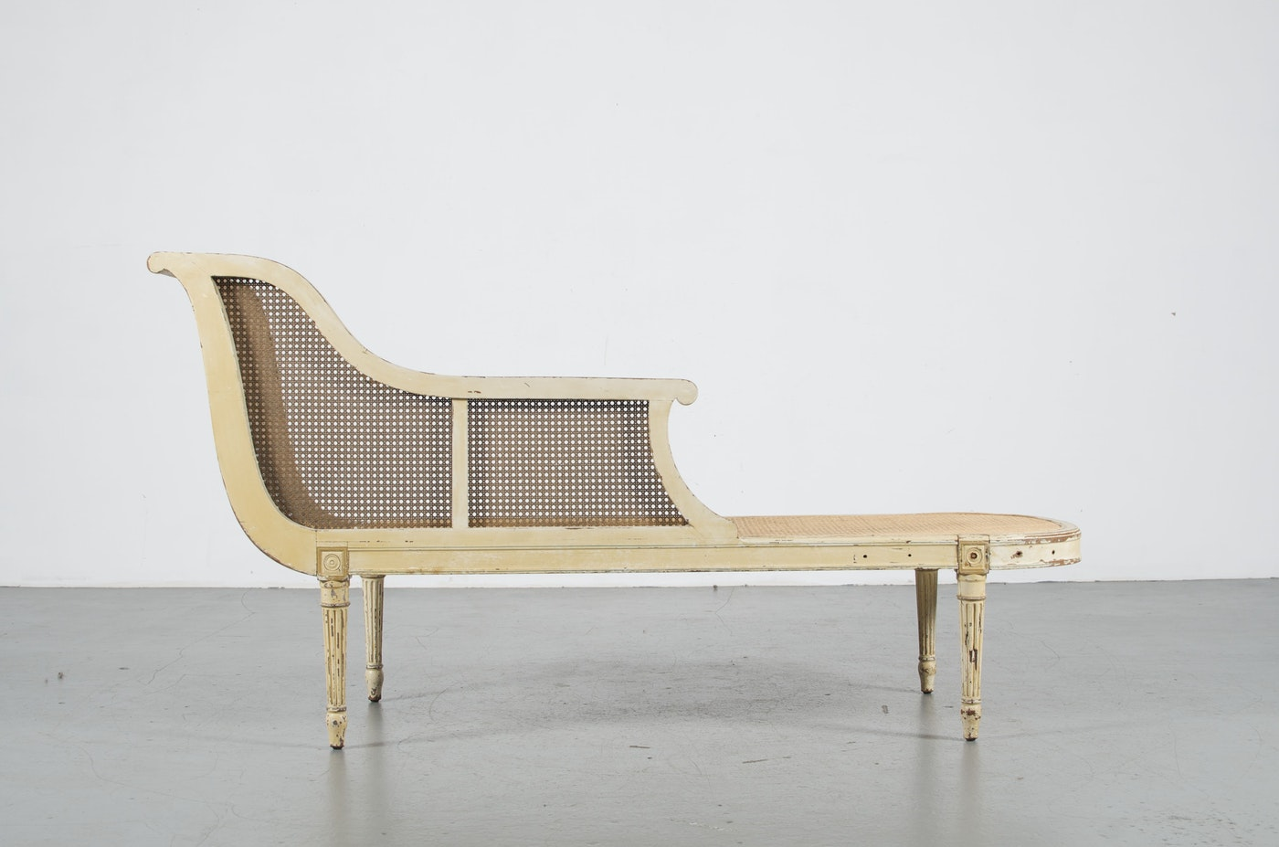 French cane chaise lounge in louis xvi style ebth - Chaise style louis xvi moderne ...
