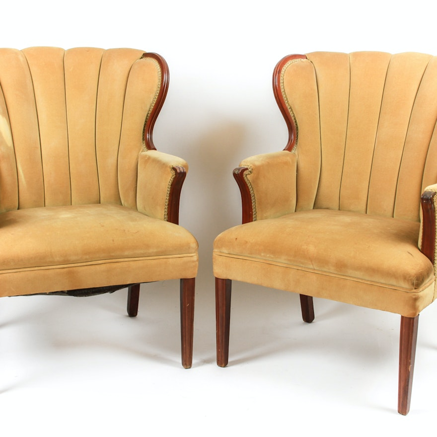 Pair Of Mid Century Vintage Channel Back Chairs