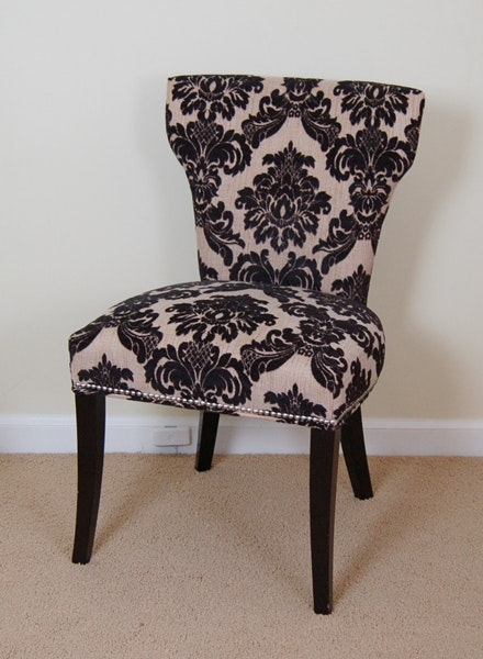 Black And Cream Accent Chair With Silver Nailhead Trim ...