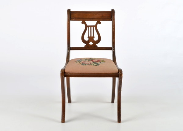 Duncan Phyfe Style Lyre Back Accent Chair Ebth