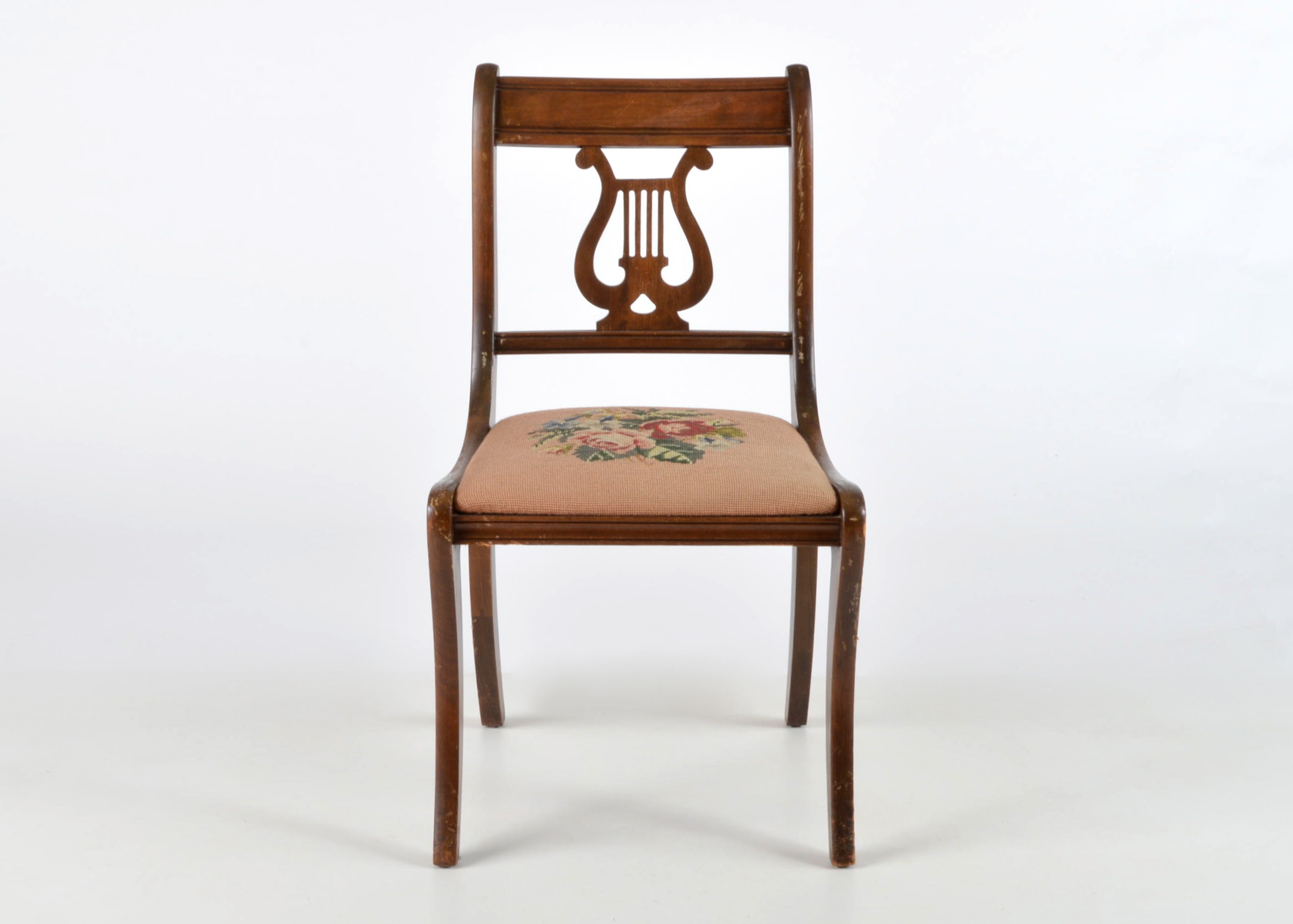 Duncan Phyfe Style Lyre Back Accent Chair ...