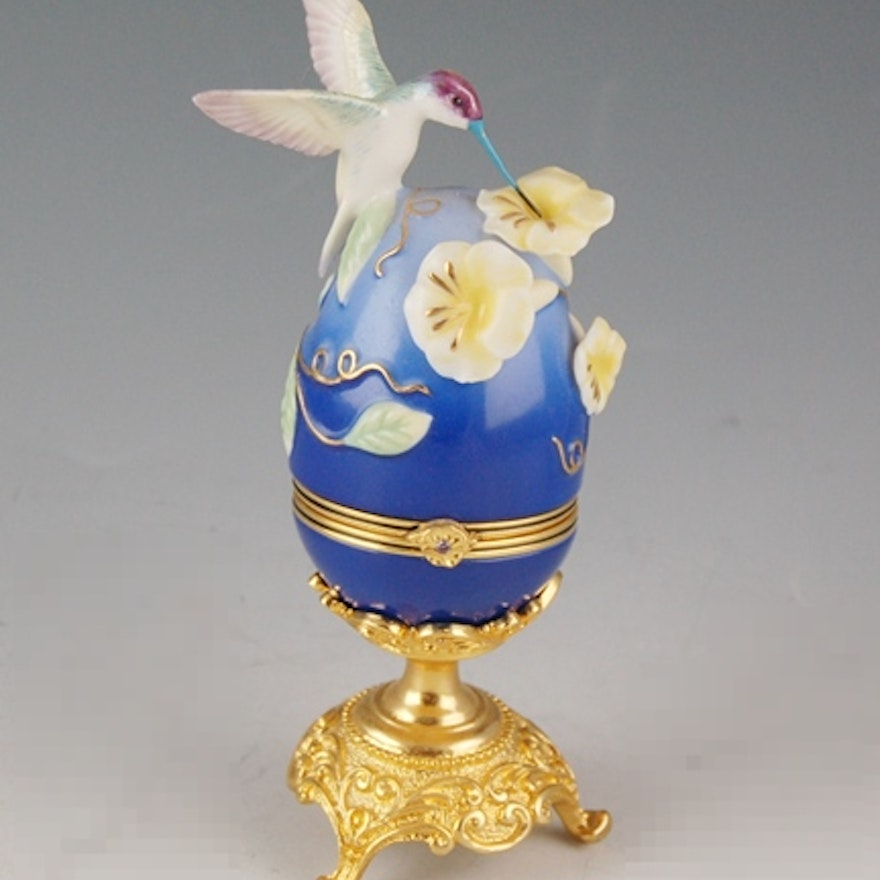 House Of Faberge Violet Crowned Hummingbird Collector Egg Ebth