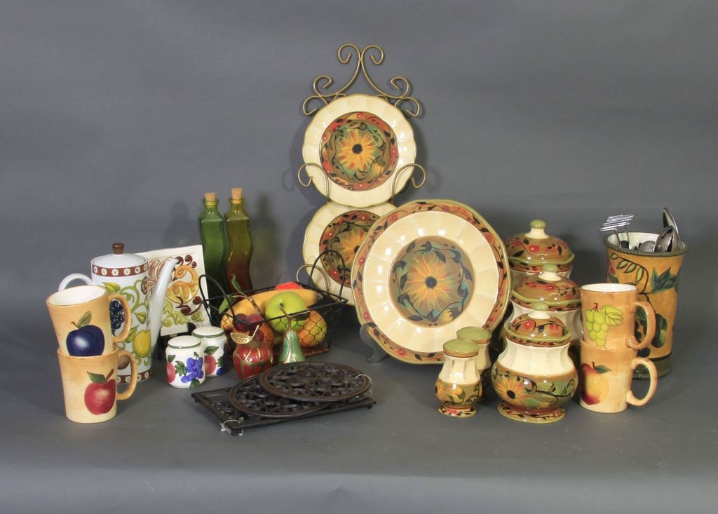 kitchen pottery in fruit and sunflower designs ebth kitchen pottery in fruit and sunflower designs