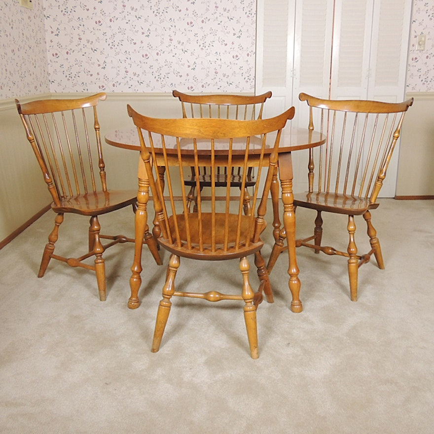 Nichols Stone Windsor Fan Back Chairs And Dining Table